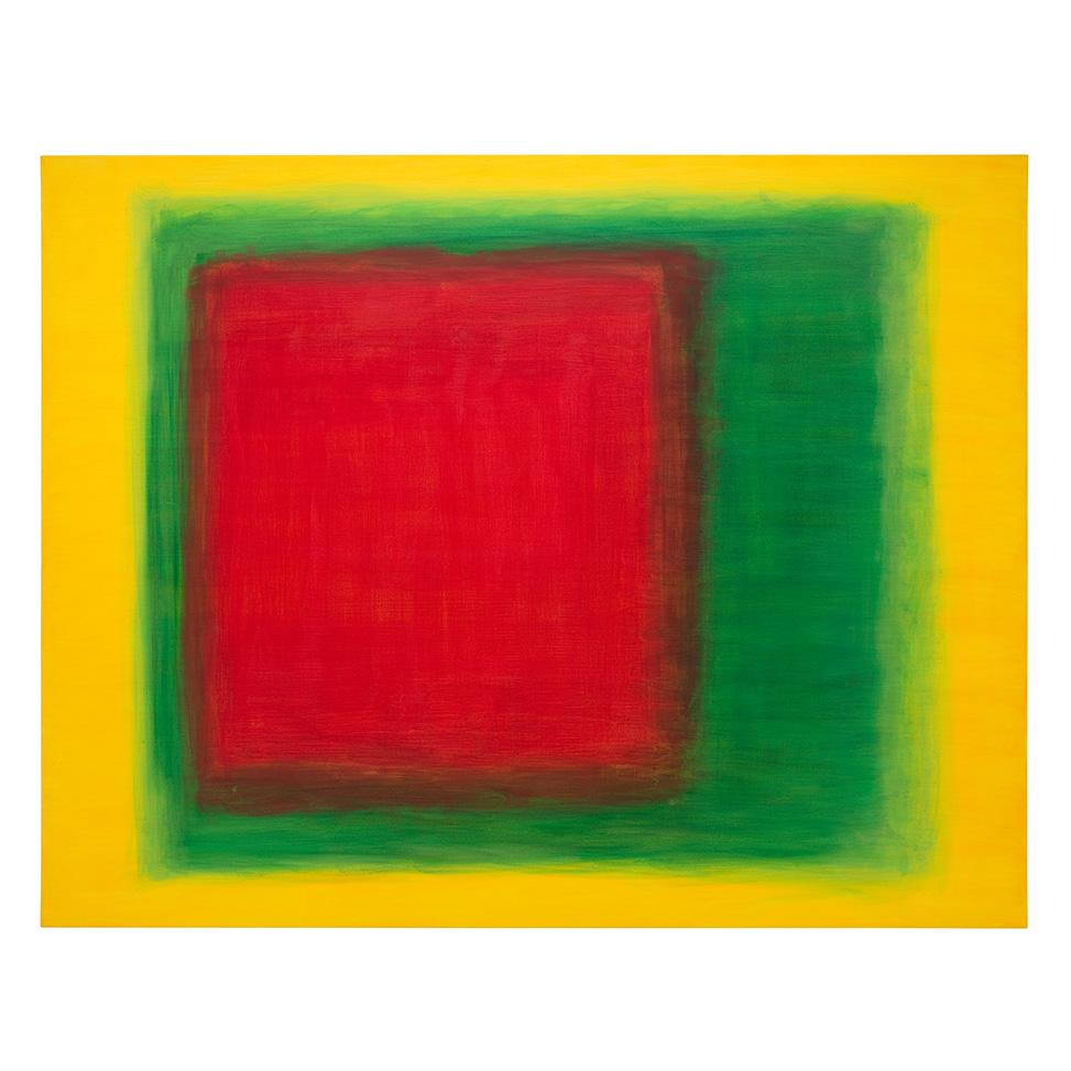 Teils schwebendes Rot-Grün auf konkretem Gelb