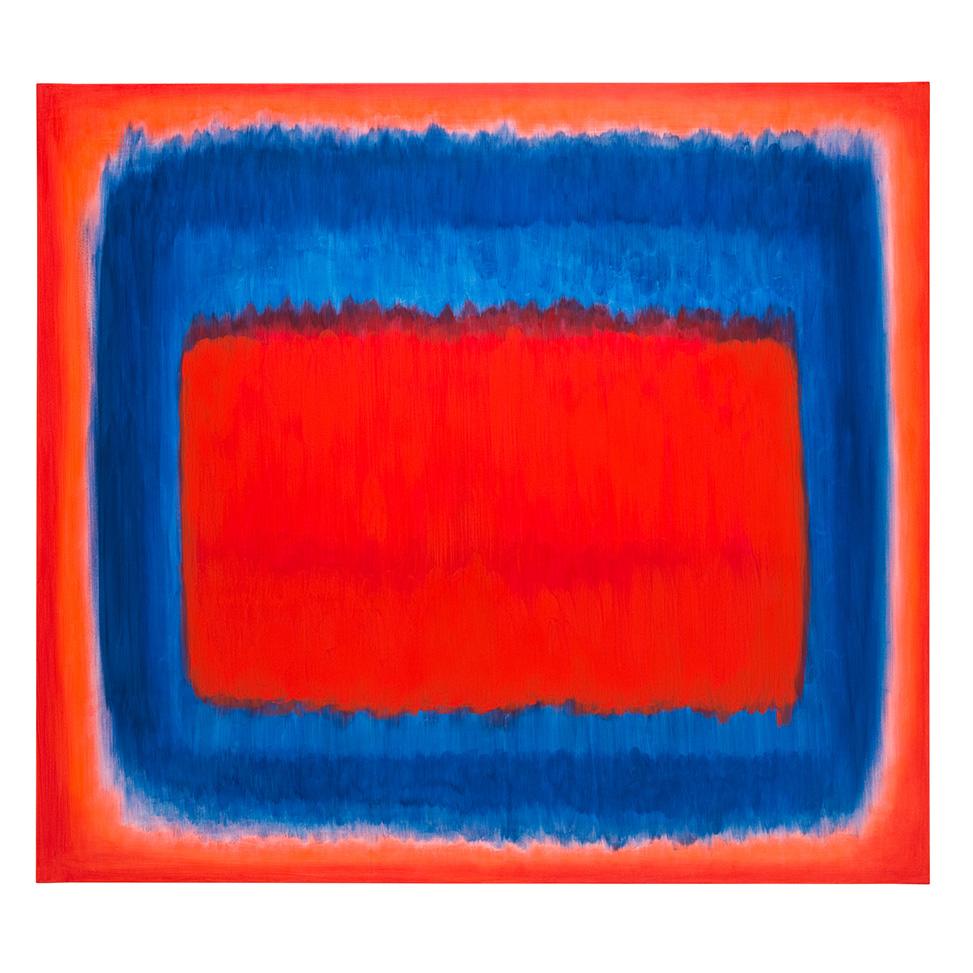 Vor Blau schwebendes Rot