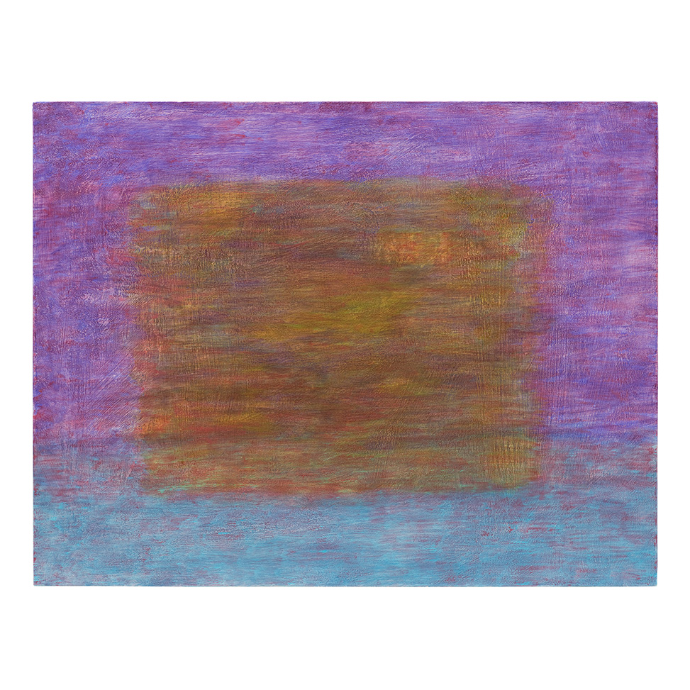 Im Violett-Türkisen schwebendes Gelb