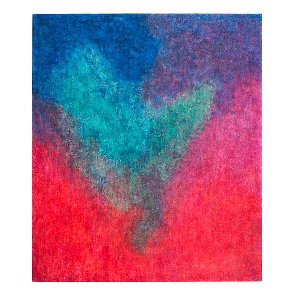 Im Rot-Violetten schwebendes Türkis